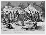 Healing ceremony, Gulf of Guinea. Engraving from 'Le Tour du Monde'