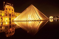 The Louvre, Napoleon court and Glass Pyramid built by IM Pei. Paris. France