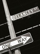 Delancey Street sign and One Way street sign in New York City. USA