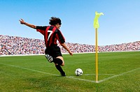 Soccer player taking corner kick