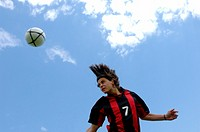 Soccer player heading ball (thumbnail)