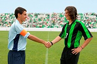 Opposing captains shaking hands