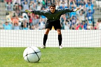 Goalkeeper facing penalty