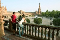 Tourists in plaza de España, Sevilla. Spain.