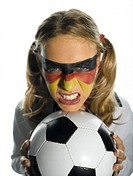 Female German football fan, portrait