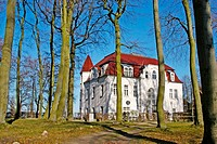 House in the beach with trees. Heringsdorf, Usedom island. Baltic sea. Germany