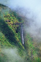Hawaii, Big Island,  Hamakua Ditch Trail, waterfall along mountainside