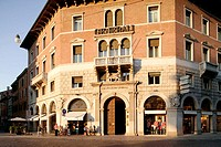 Insurance building with cafe, Ferrara. Emilia-Romagna, Italy