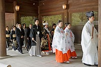 Traditional wedding in the Meiji Shrine on Sunday, Tokyo. Japan