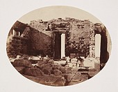 Albumen print of the 'Parthenon - interior showing building as left, roofless by the Turks after blowing up the building.' Dimensions 15.8 x 20.5cm.