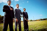 Businessmen standing in row in field
