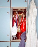 Boxing glove and trophy in locker