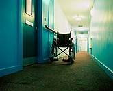 Wheelchair in a corridor