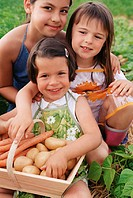 Children with basket of vegetables