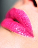 Woman wearing pink lipstick