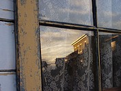 Window reflection of ghost town, Eaves Movie Ranch, Santa Fe, New Mexico, southwest USA