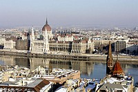 Parliament of Budapest with Danube river. Budapest. Hungary.