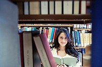 Female college student holding book