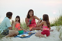 Family eating picnic on beach