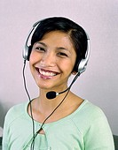 Portrait of businesswoman with headset