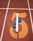 Still life of track and field starting blocks
