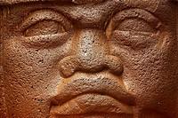 Old Olmec statue in museum, Mexicali. Baja California, Mexico