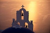 Santorin,Thira, Kirche Firostefanie/ Abendstimmung