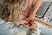 Close-up of a woman doing a pedicure