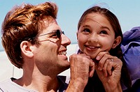 Close-up of a girl with her father