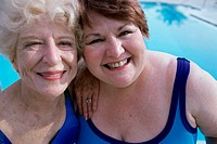 Portrait of two senior women smiling