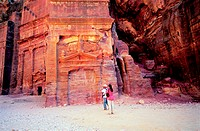 Tourists visiting the historical site of Petra, Jordan