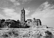Remains of the church destroyed during the Spanish Civil War. Old Belchite. Zaragoza province, Spain
