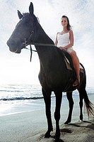 A lady horse riding on the beach (thumbnail)