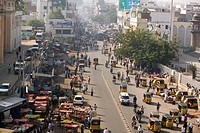 Street Traffic from the Charminar Tower. Hyderabad. Andhra Pradesh. India.