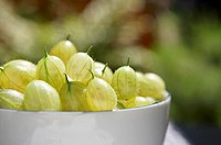 Gooseberries in bowl, close-up