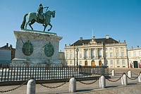 Amalienborg Palace and Square with equestrian statue of King Frederik V, Copenhagen, Denmark (thumbnail)