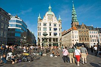 Hojbro Plads on Stroget street and Spire of Nikolaj Kirke, now Nikolaj Copenhagen Contemporary Art Centre, Copenhagen, Denmark