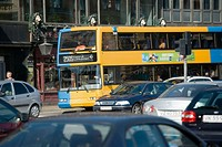 Bus in busy street, Copenhagen, Denmark