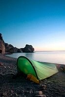 Camping. Sea of Cortez, Isla Danzante, sunrise. Baja California Sur. Mexico