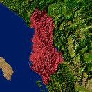 Highlighted satellite image of Albania