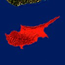 Highlighted satellite image of Cyprus