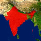 Highlighted satellite image of India