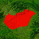 Highlighted satellite image of Hungary