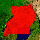 Highlighted satellite image of Uganda