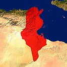 Highlighted satellite image of Tunisia