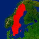 Highlighted satellite image of Sweden