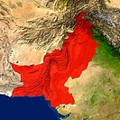 Highlighted satellite image of Pakistan