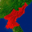 Highlighted satellite image of North Korea