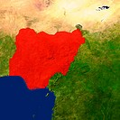 Highlighted satellite image of Nigeria