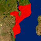 Highlighted satellite image of Mozambique